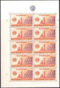 1946 San Marino, Sheetlet Unrra , N°6 - Gorgeous Without Pleat - MNH