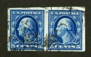 US Stamps # 347 5c Washington XF USED Choice Used Pair Strong Color