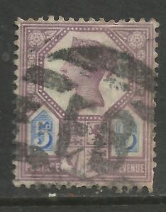 GB 1888 QV 5d Purple/Blue DIE 2 Jubilee SG 207a PMK FB. ( D355 )