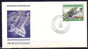 Central Africa, Scott cat. 513 only. Bi-Plane value. First Day Cover.