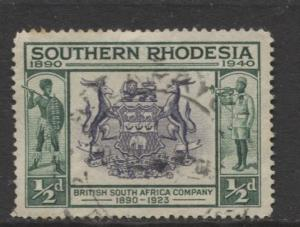 Southern Rhodesia- Scott 56- Seal of BSA -1940 - FU - Single 1/2d Stamp