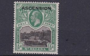 ASCENSION  1922  S G 1  1/2D GREEN & BLACK  MH NO2