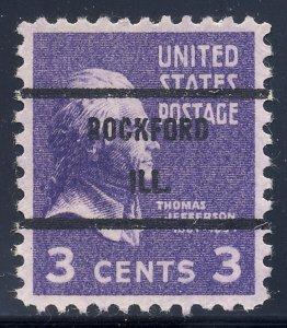 Rockford IL, 807-71 Bureau Precancel, 3¢ Jefferson