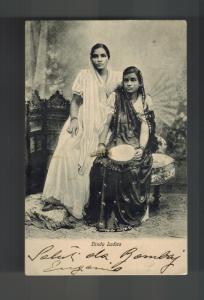 1910 Bombay India RPPC Postcard Cover to Trieste Austria Hindu Ladies Women