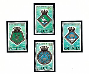 St Lucia 405-08 MNH 1976 Arms of Royal Navy Ships (KA)