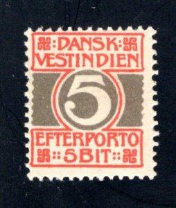 Danish West Indies #J5,  F/VF,  Mint (NH), CV $4.50 ....1630053