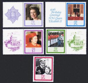 Fiji QEII 60th Birthday 5v some with labels SG#714-718 SC#544-548