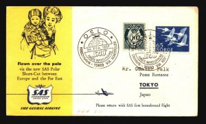 Norway 1957 SAS FFC North Pole Cover to Japan - Z17843
