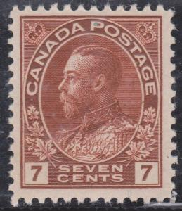 Canada - #114b mint 7c Red Brown Admiral Wet Printing mint VF