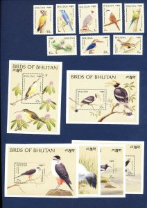 BHUTAN - # 774 // 797 - FVF MNH see note -- Birds - 1989  -- two scans
