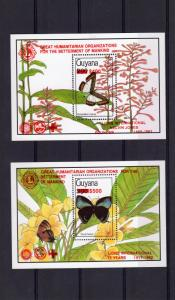 Guyana 1992 BUTTERFLIES/LIONS INT.75 YEARS 2 S/S RED ovpt.Perforated MNH