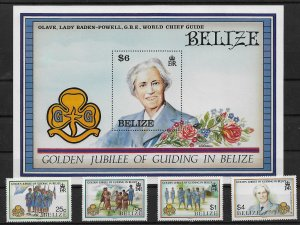 1987 Belize 873-7 Nat'l Girls Guide 50th Anniv. MNH C/S + S/S