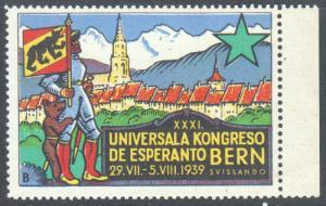 ESPERANTO POSTER STAMPXXXL UNIVERSALA KONGRESO DE ESPERANTO BERN SVISLANDO 1939