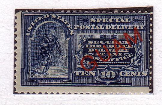 Guam #E1 10c Blue (on US E5) MH (F-VF) Cat. $225.00