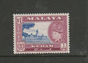 Malaya Kedah 1957 Defs $1 MM SG 100