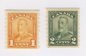 2x Canada George V MH Coil stamps #160-1c F+ #161-2c F/VF Guide Value = $70.00