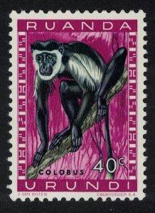 Ruanda-Urundi Eastern Black and White Colobus Monkey 40c SG#205 MI#163A