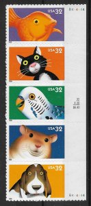 1998 Bright Eyes 3234a Bright Eyes MNH strip of 5