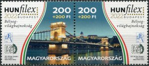 Hungary 2021. Széchenyi Chain Bridge (MNH OG) Block of 2 stamps