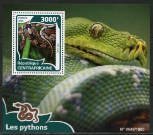 CENTRAL AFRICA 2015 PYTHONS  SOUVENIR SHEET MINT NH