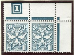 MALTA; 1953 early Postage Due issue fine MINT MNH Corner 3d. Block