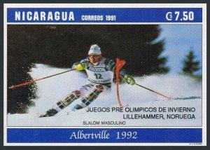 Nicaragua 1925a,MNH.Michel 3142 var.Olympics Albertville-1992.Slalom,overprinted