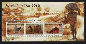 Sri Lanka Pigeon Post Birds Horses Ship World Post Day MS SG#MS2404