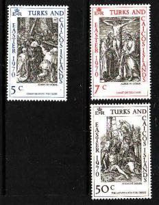 Turks & Caicos-Sc#202-4-unused NH set-Easter-Durer Engravings-1970-