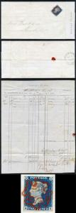 1840 2d Blue (MK) Plate 1 on Post Office Form from William Wordsworth STUNNING
