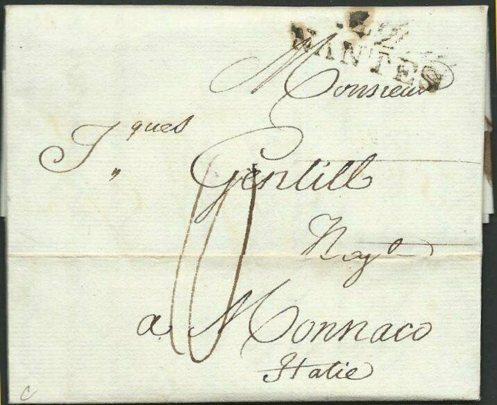 FRANCE TO MONACO 1803 folded entire ex NANTES to Monaco, Italy.............60405