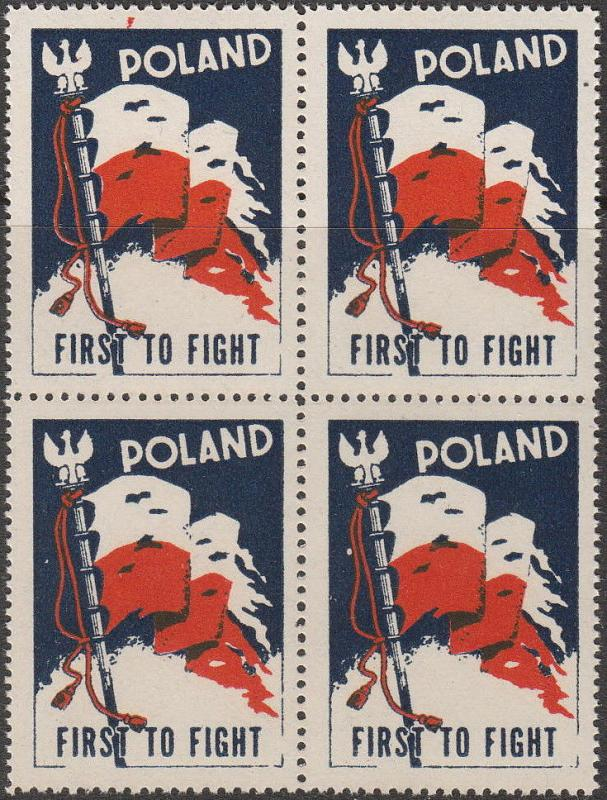 Stamp Label Poland Block WWII Poster Cinderella Red Cross Victory Flag MNH