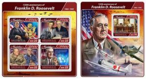 Z08 IMPERF MLD17504ab MALDIVES 2017 Franklin D. Roosevelt MNH ** Postfrisch Set