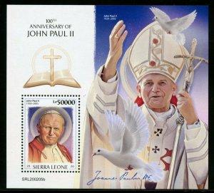 SIERRA LEONE 2020 100th ANNIVERSARY OF POPE JOHN PAUL II  SOUVENIR SHEET MINT NH