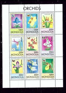 Mongolia 2269-77 MNH 1997 Orchids sheet of 9