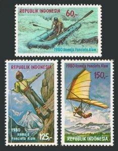 Indonesia 1070-1072,1072A,MNH. Rubber raft,Mountain climbing,Hang gliding,1980.