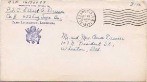 United States Louisiana Alexandria 1943 machine  Inscribed 652nd Engineers To...