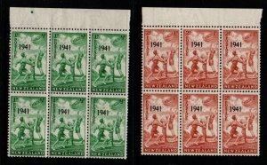 New Zealand Sc B18-19 1941 Health Children Playing stamp blocks of 6  mint NH