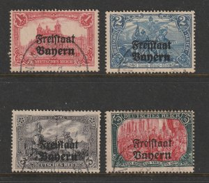 Bavaria the 4 high value (Germany ovpts) from 1919