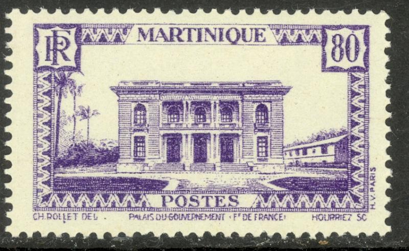 MARTINIQUE 1933-40 80c Government Palace Pictorial Sc 154 MNH