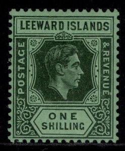 LEEWARD ISLANDS GVI SG110ba, 1s black/emerald, M MINT.