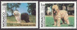 Sc# 1336-37 - Monaco - Dogs - Old English Sheepdog / Briard - MNH - superfleas
