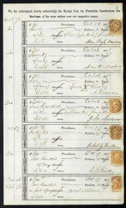 1867 Bank ledger page with R6c Bank Check revenue stamps handstamp cancels L3