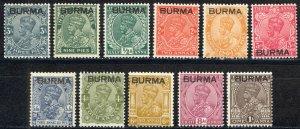 Burma Sc# 1-11 MH 1937 KGVI (overprint)