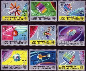 Umm al Qiwain 1966 ITU Space Satellite Stamps MNH Mi 78A-86A