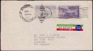 USA 1953 25c rate airmail cover Detroit to New Zealand......................5076