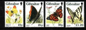 Gibraltar-Sc#728-31- id3-unused NH set-Insects-Butterflies-1997-
