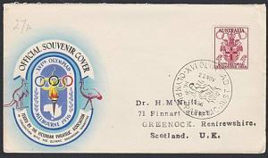 AUSTRALIA 1956 Olympic Games cover commem cancel SWIMMING..................54088
