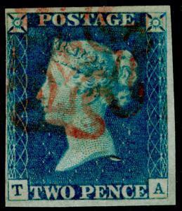 GB 1840 SG5, 2d blue, USED. Cat £1200. RED MX. TA