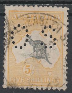 AUSTRALIA 1915 KANGAROO OS 5/- 3RD WMK USED