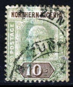 NORTHERN NIGERIA KE VII 1902 10 Shillings Green & Brown Wmk Crown CA SG 18 Used